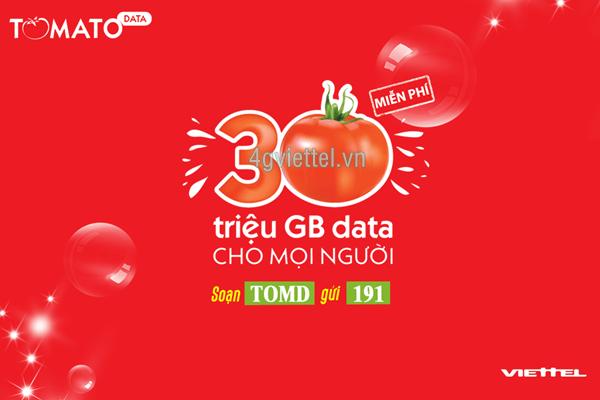 Đăng ký gói cước TOMD Viettel nhận ngay 1GB data hoàn toàn miễn phí