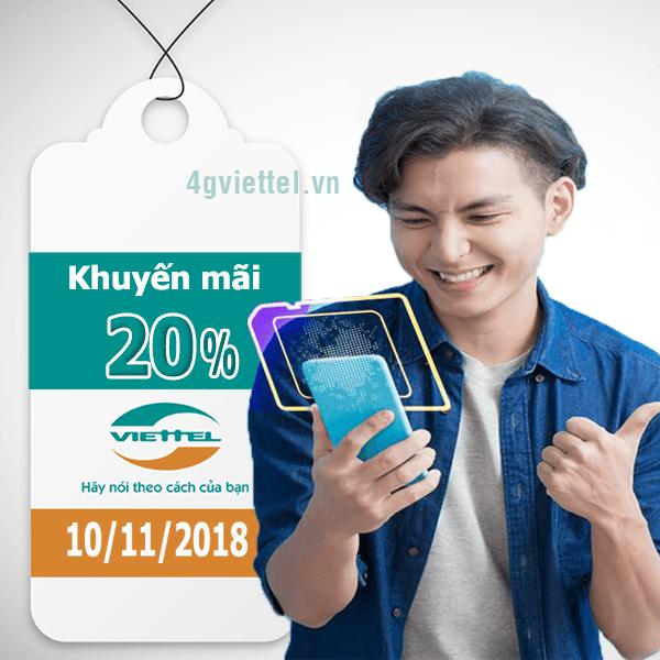 Viettel khuyến mãi 10/11/2018 ưu đãi ngày vàng tặng 20% tiền nạp