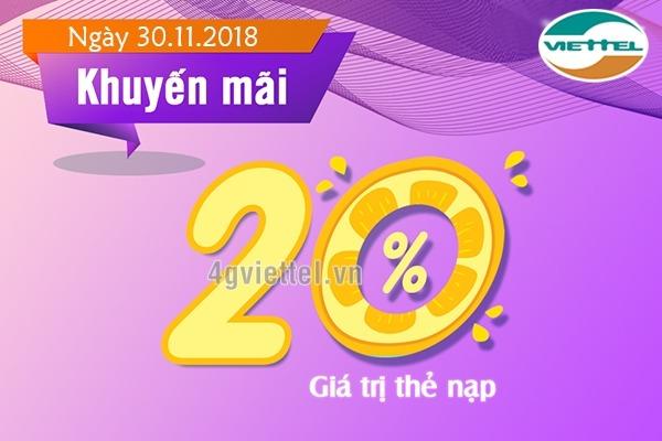 Viettel khuyến mãi 30/11/2018 ưu đãi NGÀY VÀNG toàn quốc