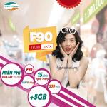 Đăng ký gói F90 Viettel ưu đãi 5GB data, 15 phút gọi ngoại mạng, 250 SMS và miễn phí tất cả các cuộc gọi nội mạng dưới 10 phút