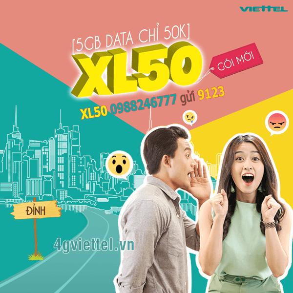Đăng ký gói cước XL50 Viettel ưu đãi 5Gb data chỉ 50.000đ