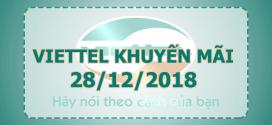 Viettel khuyến mãi 28/12/2018 ưu đãi 20% tiền nạp ngày vàng