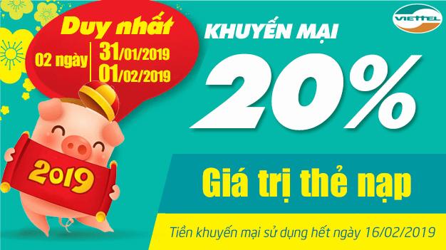 Viettel khuyến mãi 31/1/2019 - 1/2/2019 ưu đãi ngày vàng toàn quốc