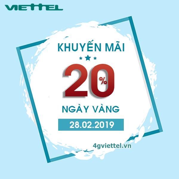 Viettel khuyến mãi 28/2/2019 ưu đãi 20% tiền nạp