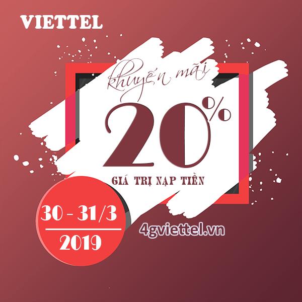 Viettel khuyến mãi 30/3 - 31/3/2019 ưu đãi ngày vàng toàn quốc