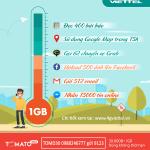 Đăng ký gói cước TOMD30 Viettel ưu đãi 1GB data không giới hạn thời gian sử dụng