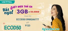 Đăng ký gói cước ECOD50 Viettel ưu đãi 3GB data chỉ 50.000đ/tháng