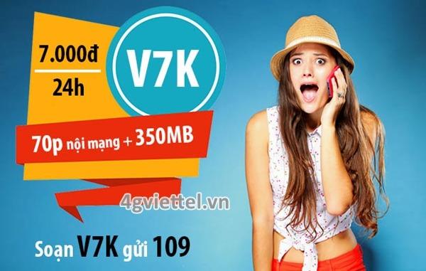 Đăng ký gói cước V7K Viettel chỉ với 7.000đ nhận ngay 350MB và 70 phút gọi