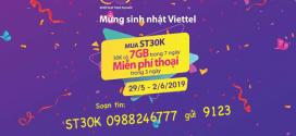 Khuyến mãi gói ST30K Viettel tặng FREE gọi thoại từ 29/5 – 2/6/2019