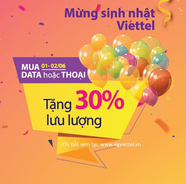 Khuyến mãi data Viettel tặng 30% ưu đãi đăng ký từ ngày 1/6 - 2/6/2019