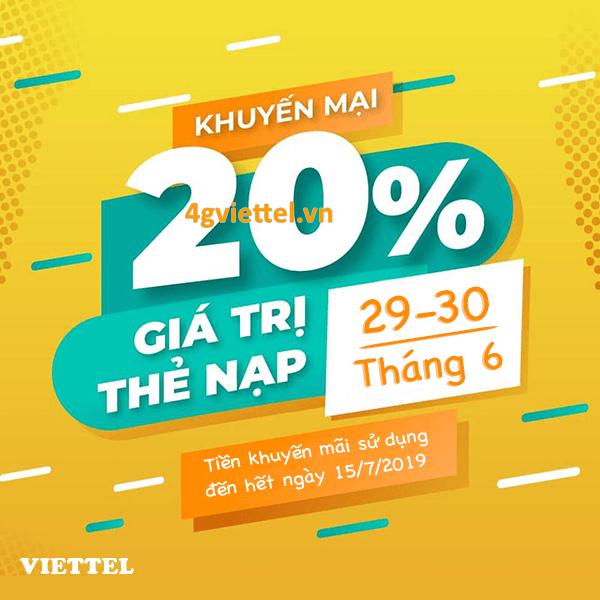 Viettel khuyến mãi 29/6 - 30/6/2019 ưu đãi NGÀY VÀNG tặng 20% giá trị thẻ nạp