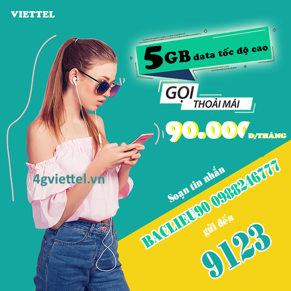 Đăng ký gói BACLIEU90 Viettel chỉ 90.000đ/tháng ưu đãi 4 trong 1 siêu hấp dẫn
