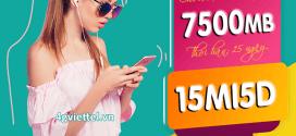 Đăng ký gói 15MI5D Viettel ưu đãi 7500MB data giá rẻ chỉ với 75.000đ
