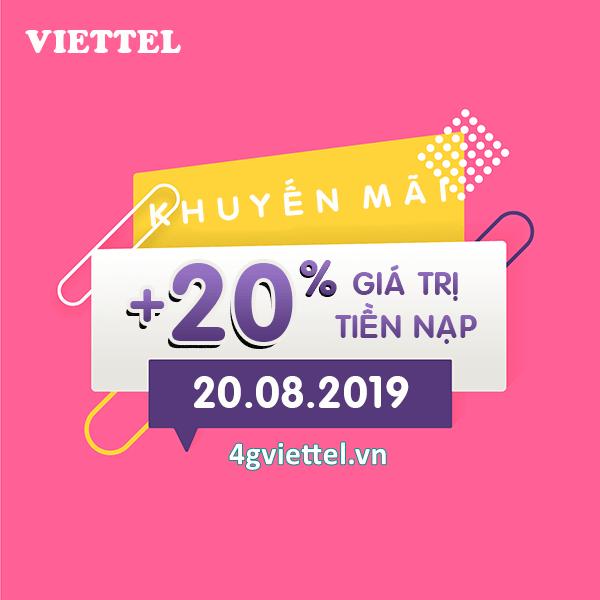 Viettel khuyến mãi 20/8/2019 ưu đãi NGẢY VÀNG tặng 20% giá trị tiền nạp