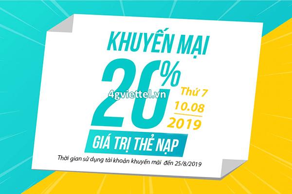 Viettel khuyến mãi 10/8/2019 ưu đãi 20% giá trị thẻ nạp