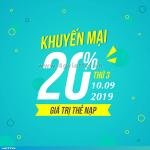 Viettel khuyến mãi 10/9/2019 ưu đãi NGÀY VÀNG tặng 20% giá trị mỗi thẻ nạp