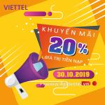Viettel khuyến mãi 30/10/2019 ưu đãi NGÀY VÀNG tặng 20% giá trị tiền nạp