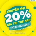 Viettel khuyến mãi 20/11/2019 ưu đãi NGÀY VÀNG tặng 20% giá trị tiền nạp