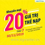 Viettel khuyến mãi 30/11/2019 ưu đãi NGÀY VÀNG toàn quốc