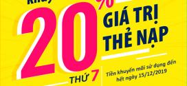 Viettel khuyến mãi 30/11/2019 ưu đãi NGÀY VÀNG tặng 20% giá trị