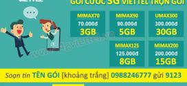Các gói cước 3G Viettel trọn gói miễn phí 100% cước phát sinh ưu đãi siêu khủng