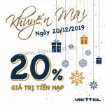 Viettel khuyến mãi 20/12/2019 ưu đãi NGÀY VÀNG tặng 20% giá trị tiền nạp