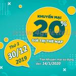 Viettel khuyến mãi 30/12/2019 ưu đãi NGÀY VÀNG tặng 20% giá trị tiền nạp