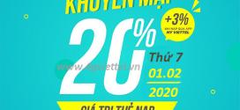 Khuyến mãi Viettel 1/2/2020 NGÀY VÀNG nạp thẻ tặng 20% giá trị tiền nạp