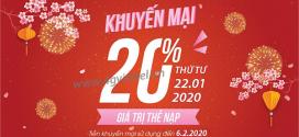 Khuyến mãi Viettel 22/1/2020 ưu đãi NGÀY VÀNG tặng 20% giá trị tiền nạp