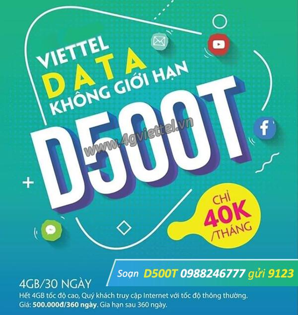 Đăng ký gói D500T Viettel nhận ưu đãi 48GB data dùng trọn gói 1 năm