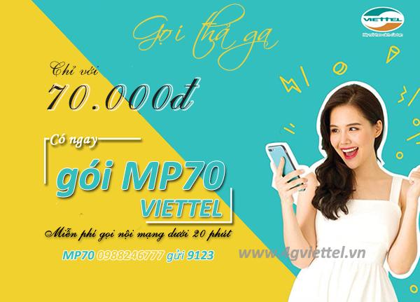 Đăng ký gói MP70 Viettel miễn phí gọi nội mạng Viettel