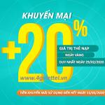 Viettel khuyến mãi 29/2/2020 ưu đãi NGÀY VÀNG tặng 20% tiền nạp