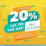 Khuyến mãi Viettel 20/4/2020 ưu đãi NGÀY VÀNG tặng 20% giá trị tiền nạp