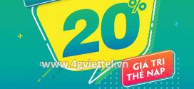 Viettel khuyến mãi 30/4/2020 NGÀY VÀNG nạp thẻ tặng 20% tiền nạp