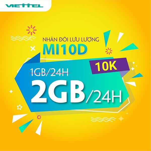 Cách đăng ký gói MI10D Viettel miễn phí 2GB data dùng thả ga đến 24h