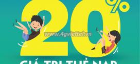 Viettel khuyến mãi 10/6/2020 NGÀY VÀNG nạp thẻ tặng 20% tiền nạp