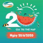 Viettel khuyến mãi 20/6/2020 NGÀY VÀNG nạp thẻ tặng 20% giá trị tiền nạp