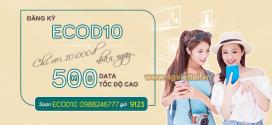 Cách đăng ký gói ECOD10 Viettel nhận ngay 500MB data cước phí chỉ 10k