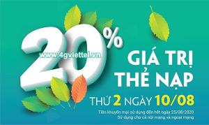 Khuyến mãi Viettel 10/8/2020 NGÀY VÀNG nạp tiền tặng 20% thẻ nạp