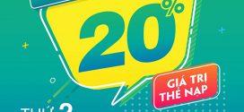 Viettel khuyến mãi 31/8/2020 NGÀY VÀNG nạp thẻ tặng 20% tiền nạp