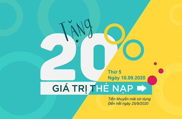 Khuyến mãi Viettel 10/9/2020 NGÀY VÀNG nạp thẻ tặng 20% tiền nạp