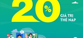 Khuyến mãi Viettel 21/9/2020 NGÀY VÀNG tặng 20% tiền nạp