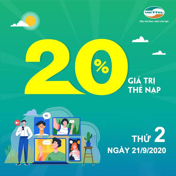 Viettel khuyến mãi 21/9/2020 NGÀY VÀNG nạp thẻ tặng 20% giá trị tiền nạp