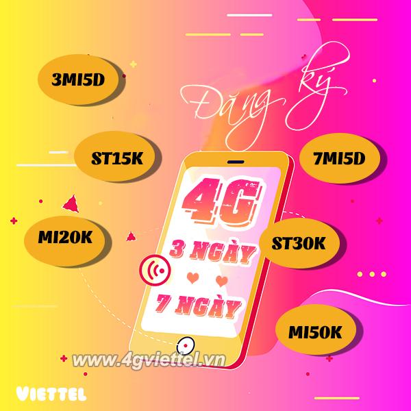 Danh sách Gói cước 4G Viettel 3 ngày, 7 ngày nhận ngay data khủng