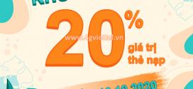 Khuyến mãi Viettel 10/10/2020 NGÀY VÀNG tặng 20% giá trị tiền nạp