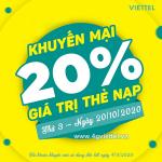 Viettel khuyến mãi 20/10/2020 NGÀY VÀNG tặng 20% giá trị tiền nạp