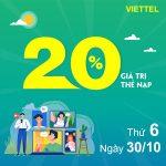 Viettel khuyến mãi 30/10/2020 NGÀY VÀNG nạp thẻ