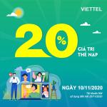 Viettel khuyến mãi 10/11/2020 NGÀY VÀNG tặng 20% giá trị tiền nạp