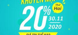 Viettel khuyến mãi 30/11/2020 NGÀY VÀNG 20% giá trị mỗi thẻ nạp