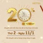 Viettel khuyến mãi 11/1/2021 NGÀY VÀNG tặng 20% giá trị mỗi thẻ nạp